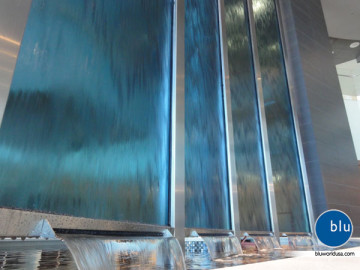 Custom corporate indoor water feature by Bluworld