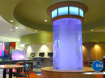Custom cafe water feature bubble column by Bluworld