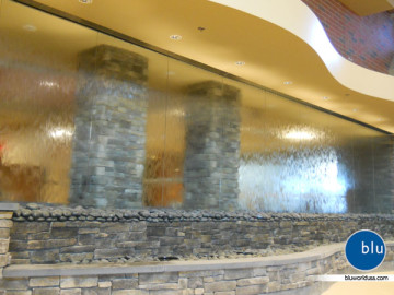 Bluworld custom indoor glass multipanel waterwall